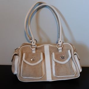 Jaclyn Smith Tan and White Purse